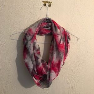 pink, grey, and white floral scarf!